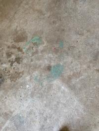 Benadryl pill on the garage floor.