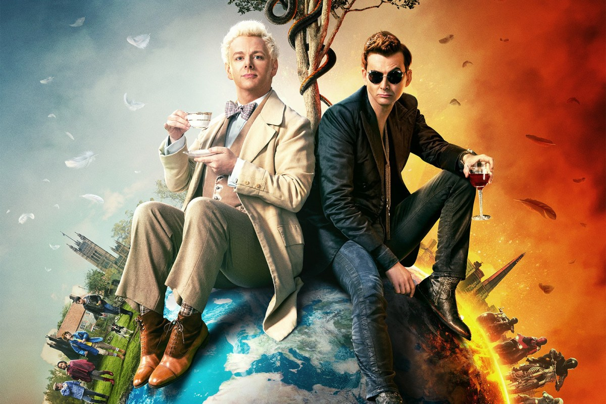 Aziraphale and Crowley, good and evil, sitting on the Earth.