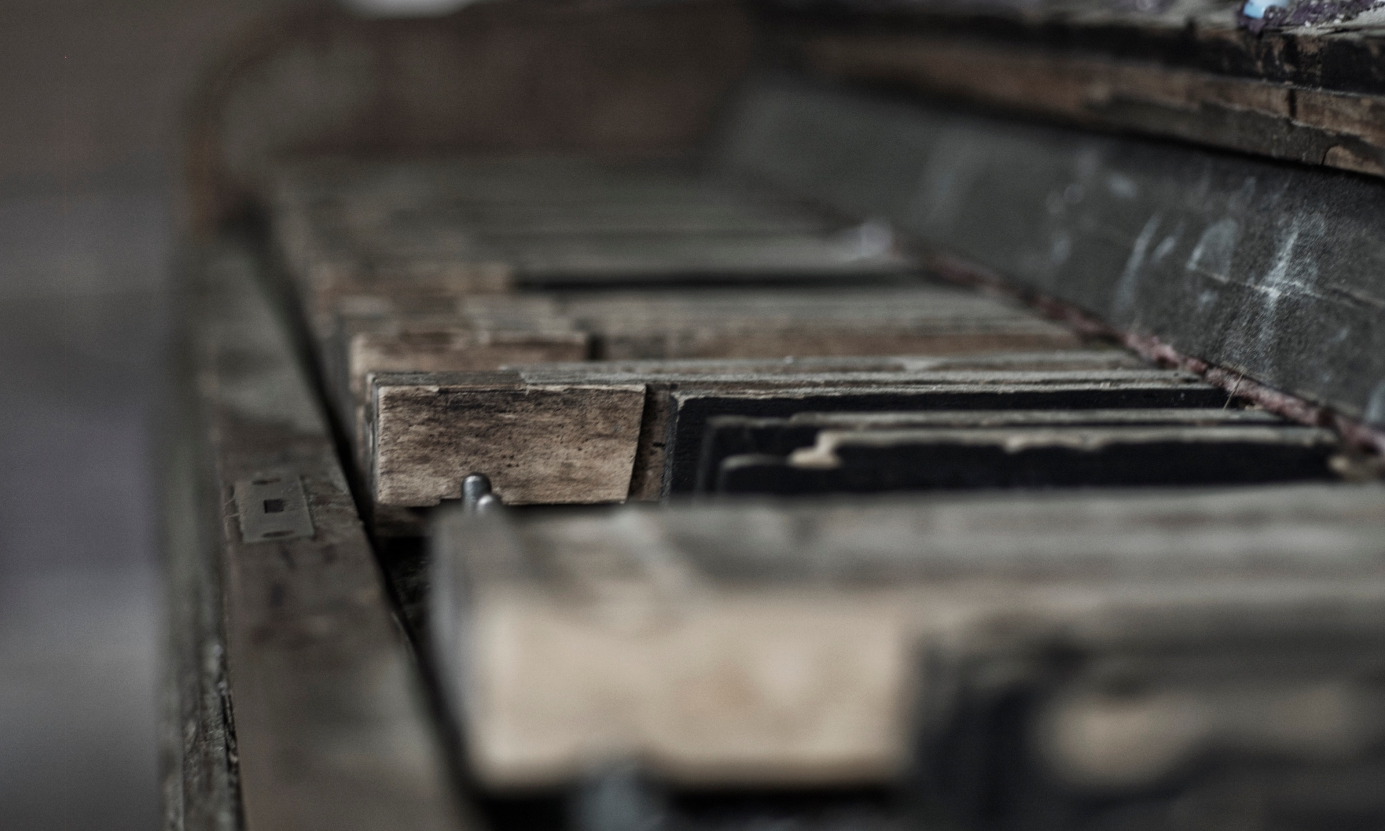 Close up of old piano keys.
