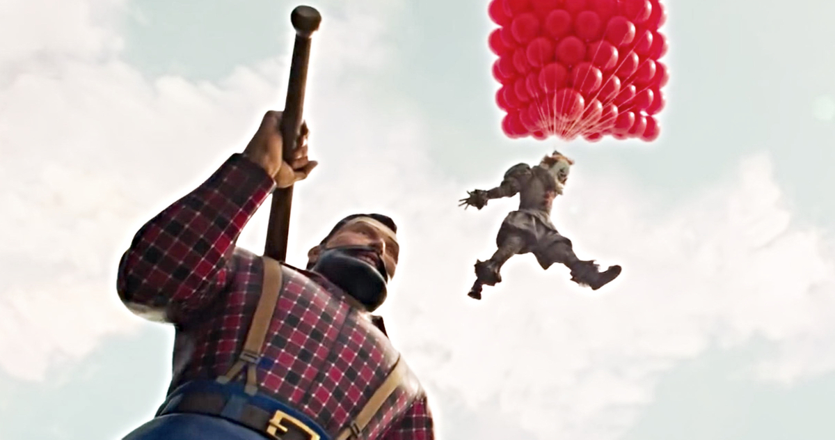 Pennywise floating down from Paul Bunyan's shoulders using a bunch of red baloons.