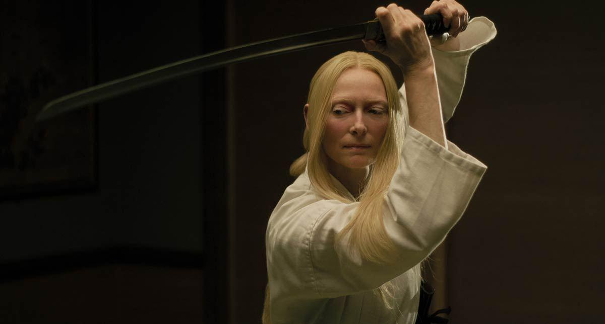 Zelda Winston wielding her samurai sword.