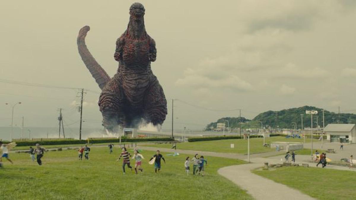 Shin Godzilla coming on shore.