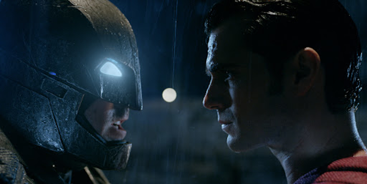 Batman and Superman face off.