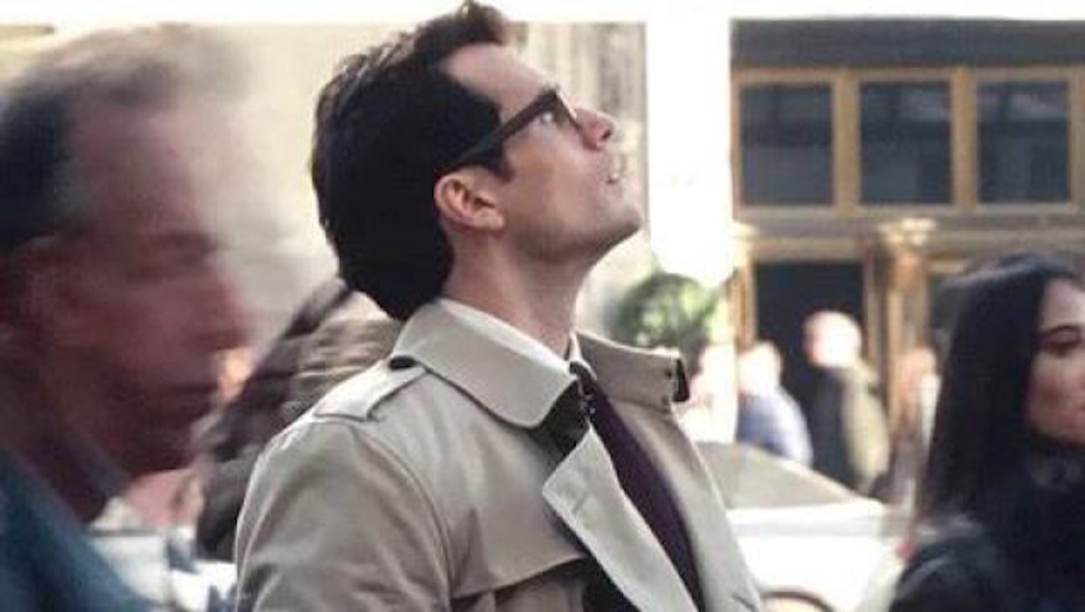 Clark Kent looking up into the sky at the end of Justice League.