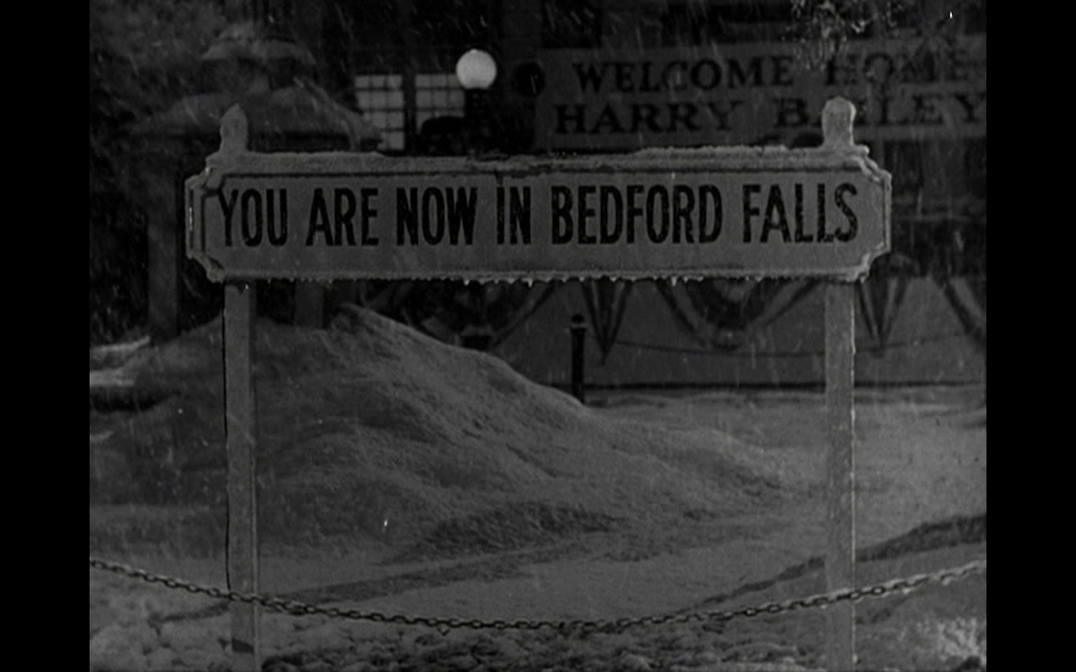 Sign reading you are now in Bedford Falls.