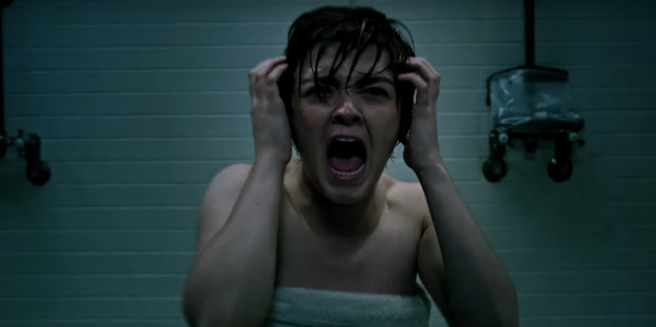 Rahne Sinclair crying in the shower.