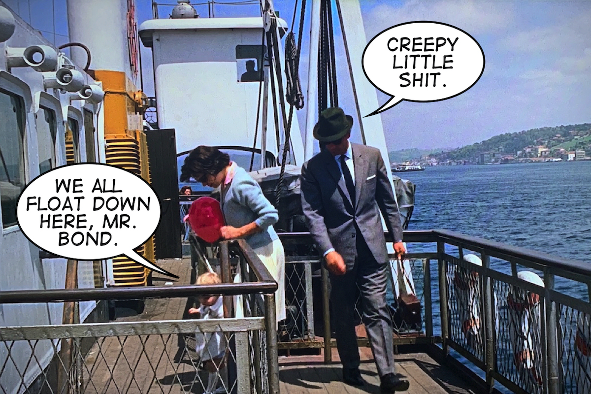James Bond passing a little girl with a red balloon and her mother on the ferry.