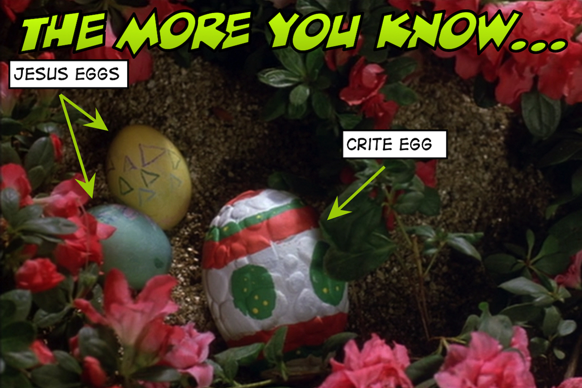 Two Easter eggs and one Crite egg.