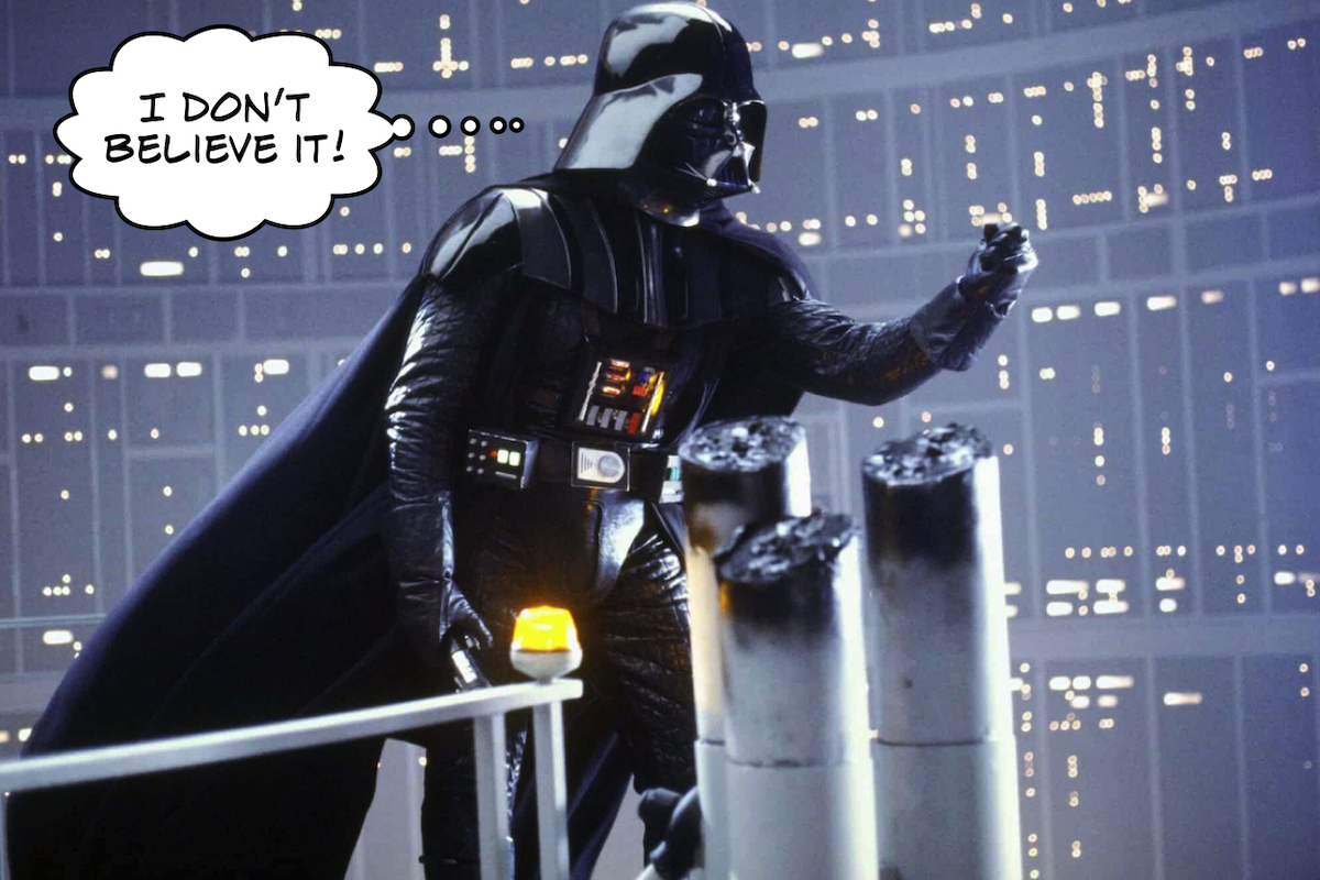 Darth Vader can't believe Luke jumped.